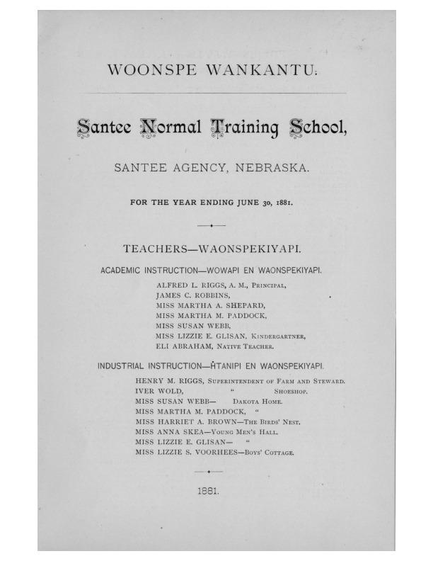 Santee Normal Training School, Santee Agency, Nebraska for the year ending 1881