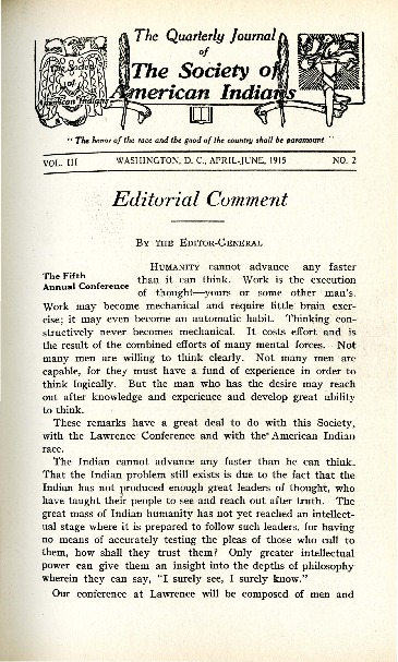 The Quarterly Journal of the Society of American Indians v. 3 no. 2 (April-June 1915)