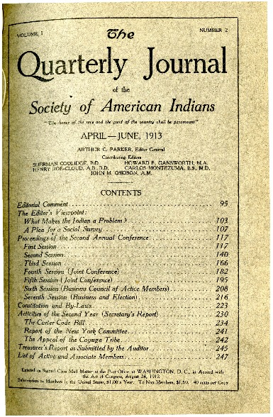 The Quarterly Journal of the Society of American Indians v. 1 no. 2 (April-June 1913)